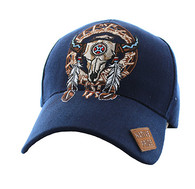 VM697 Native Pride Skull Velcro Cap (Solid Navy)