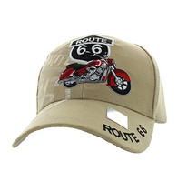 VM086 Route 66 Road Motorcycle Velcro Cap (Solid Khaki)