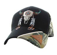 VM791 Native Pride Skull Velcro Cap (Black & Hunting Camo)