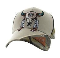 VM791 Native Pride Skull Velcro Cap (Khaki & Hunting Camo)
