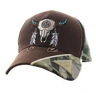 VM791 Native Pride Skull Velcro Cap (Brown & Hunting Camo)