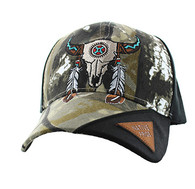 VM791 Native Pride Skull Velcro Cap (Hunting Camo & Black)