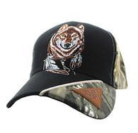 VM791 Native Pride Wolf Velcro Cap (Black & Hunting Camo)