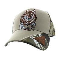 VM791 Native Pride Wolf Velcro Cap (Khaki & Hunting Camo)