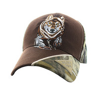 VM791 Native Pride Wolf Velcro Cap (Brown & Hunting Camo)
