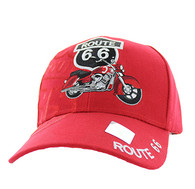 VM086 Route 66 Road Motorcycle Velcro Cap (Solid Red)
