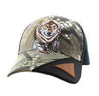 VM791 Native Pride Wolf Velcro Cap (Hunting Camo & Black)