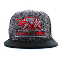 SM616 California Republic Snapback (Heather Grey & Black)