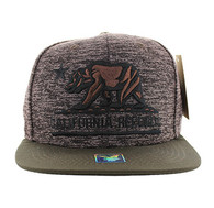 SM616 California Republic Snapback (Heather Grey & Brown)