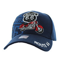 VM086 Route 66 Road Motorcycle Velcro Cap (Solid Navy)