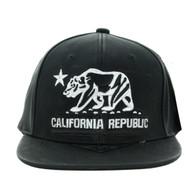 SM800 California Republic PU Snapback (Black & Black)