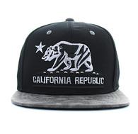 SM800 California Republic PU Snapback (Black & Grey)