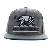 SM800 California Republic PU Snapback (Grey & Grey)