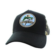 VM688 Fishing Cotton Velcro Cap (Black & Hunting Camo)