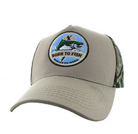 VM688 Fishing Cotton Velcro Cap (Khaki & Hunting Camo)