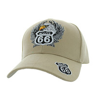 VM199 Route 66 Road Eagle Velcro Cap (Solid Khaki)