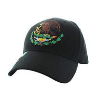 VM773 Mexico Cotton Velcro Baseball Cap (Solid Black)