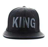SM611 King PU Snapback (Black & Black)