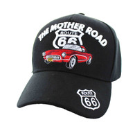 VM200 Route 66 Road The Mother Road Classic Car Velcro Cap (Solid Black)