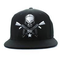 SM270 Skull AK Cotton Snapback Cap (Solid Black)