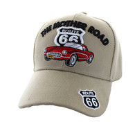 VM200 Route 66 Road The Mother Road Classic Car Velcro Cap (Solid Khaki)