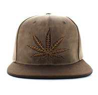 SM800 Marijuana PU Snapback (Brown & Brown)