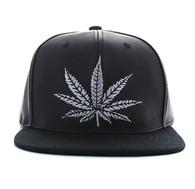 SM800 Marijuana PU Snapback (Black & Black)