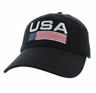 VM841 American USA Cotton Velcro Cap (Solid Black)