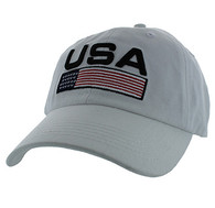 VM841 American USA Cotton Velcro Cap (Solid White)