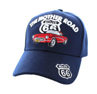 VM200 Route 66 Road The Mother Road Classic Car Velcro Cap (Solid Navy)
