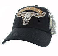 VM824 Texas Cotton Velcro Cap (Black & Camo)