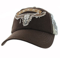 VM824 Texas Cotton Velcro Cap (Brown & Camo)