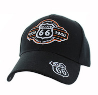 VM728 Route 66 Velcro Cap (Solid Black)