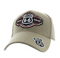 VM728 Route 66 Velcro Cap (Solid Khaki)