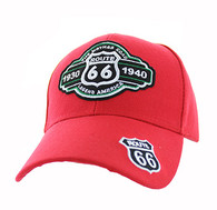 VM728 Route 66 Velcro Cap (Solid Red)