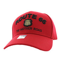 VM223 Route 66 Road Gold Metal Velcro Cap (Solid Red)