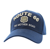 VM223 Route 66 Road Gold Metal Velcro Cap (Solid Navy)