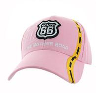VM083 Route 66 Road Line Velcro Cap (Solid Light Pink)