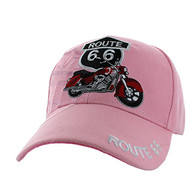 VM086 Route 66 Road Motorcycle Velcro Cap (Solid Light Pink)