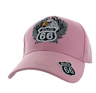 VM199 Route 66 Road Eagle Velcro Cap (Solid Light Pink)