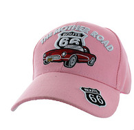 VM200 Route 66 Road The Mother Road Classic Car Velcro Cap (Solid Light Pink)