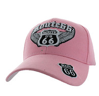 VM318 Route 66 Road Wings Velcro Cap (Solid Light Pink)