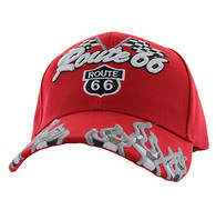 VM256 Route 66 Road Racing Flags Velcro Cap (Solid Red)