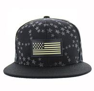 SM737 USA Flag Snapback Cap (Black & Black)