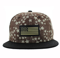 SM737 USA Flag Snapback Cap (Brown & Black)