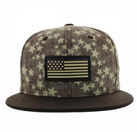 SM737 USA Flag Snapback Cap (Brown & Brown)