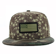 SM737 USA Flag Snapback Cap (Brown & Military Camo)