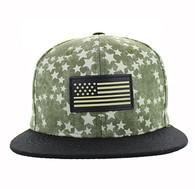 SM737 USA Flag Snapback Cap (Olive & Black)