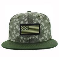 SM737 USA Flag Snapback Cap (Olive & Olive)