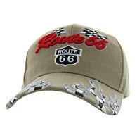 VM256 Route 66 Road Racing Flags Velcro Cap (Solid Khaki)